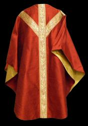 Red Dupioni Chasuble with 448 Orphrey